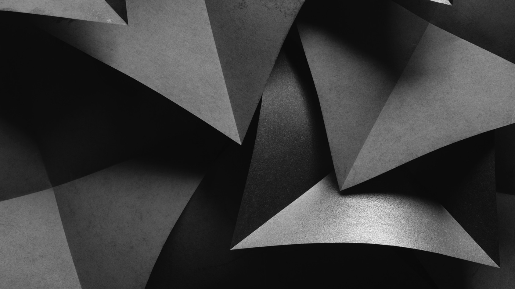 Creative image with gray paper elements for dark abstract background, 3d illustration